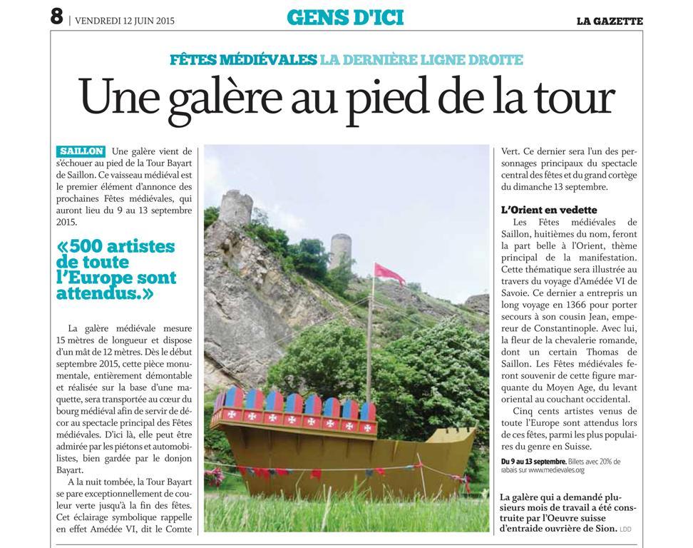 Une galère au pied de la Tour! La Gazette de Martigny 12.06.2015