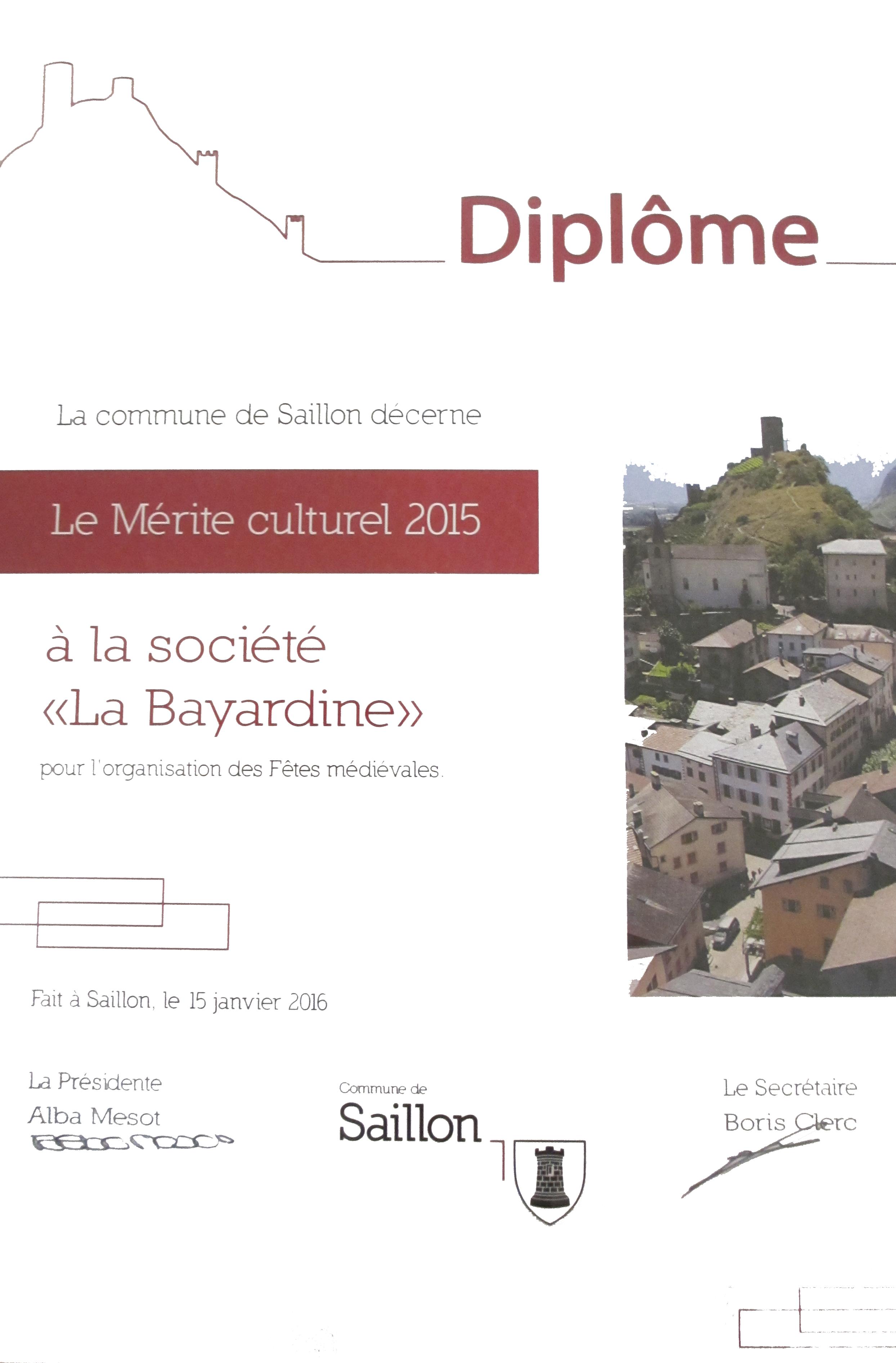 Mérite culturel 2015 - La Bayardine
