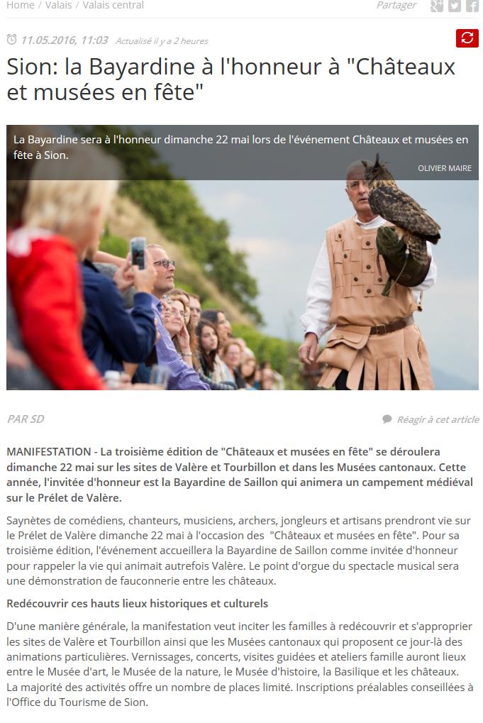 """Le Nouvelliste: La Bayardine à l'honneur à """"Châteaux et Musées en fête"""""""